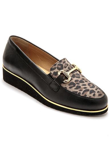 Mocassins cuir avec élastiques - Pédiconfort - Noir/léopard