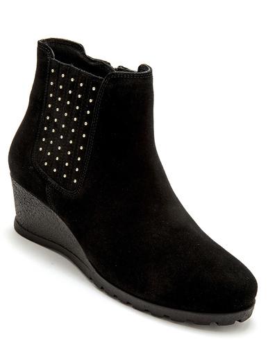 Boots zip et élastique grande largeur - Pédiconfort - Noir