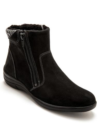 Boots fourrées zippées, large ouverture - Pédiconfort - Noir