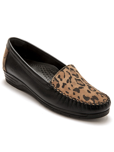 Mocassins plateau imprimé grande largeur - Pédiconfort - Imprimé léopard