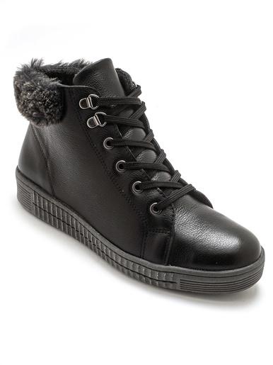 Boots cuir avec lacets et zip - Pédiconfort - Noir