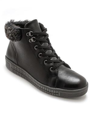 Boots cuir avec lacets et zip