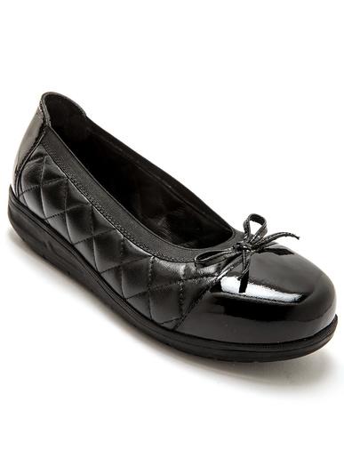 Ballerines cuir élastiquées ultra larges - Pédiconfort - Noir