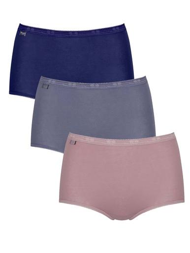Lot de 3 culottes maxi coton majoritaire - Sloggi - Marine/gris/rose