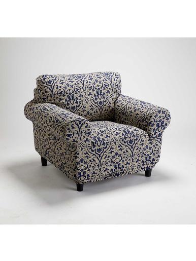 Housse de fauteuil universelle - Carré d'azur - Bleu/beige