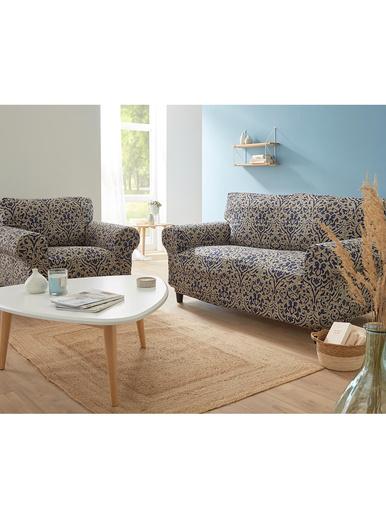 Housse de canapé universelle - Carré d'azur - Bleu/beige