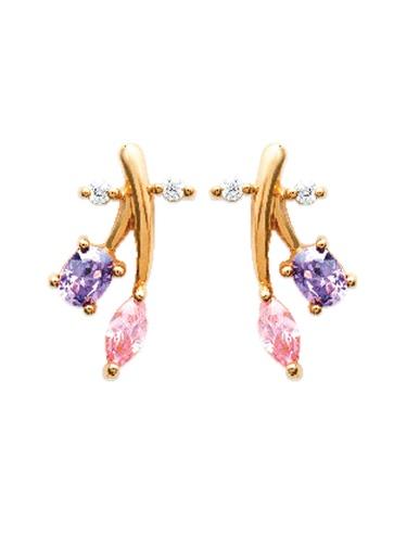 Boucles d'oreilles plaqué or - Balsamik - Pierre multicolore