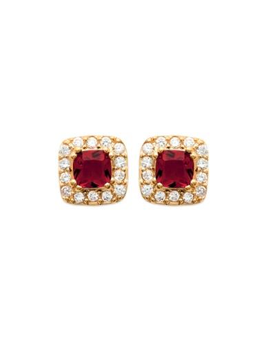 Boucles d'oreilles rubis plaqué or - Balsamik - Plaqué or