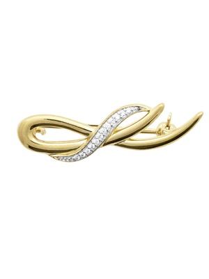 Broche bicolore avec strass plaqué or