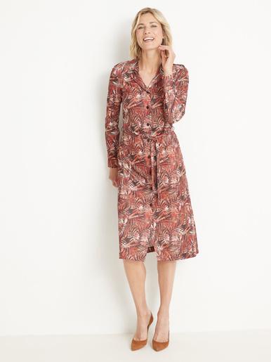 Robe en maille fluide, boutonnée - Charmance - Imprimé rose