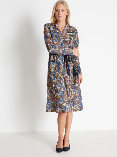 Robe toute boutonnée en maille - Charmance - Imprimé bleu