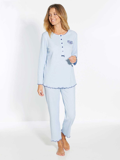 Pyjama maille interlock bio - Lingerelle - Bleu