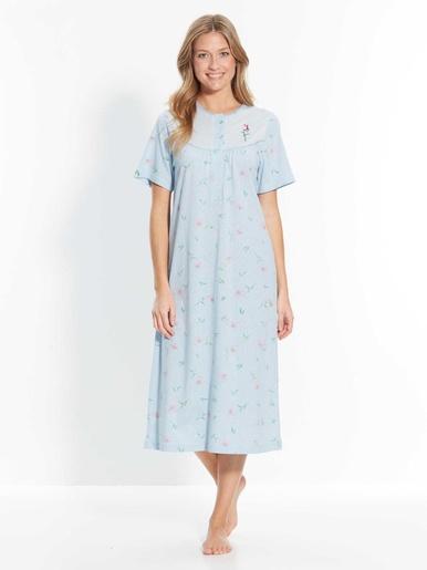 Chemise de nuit classique, coton bio - Lingerelle - Imprimé bleu