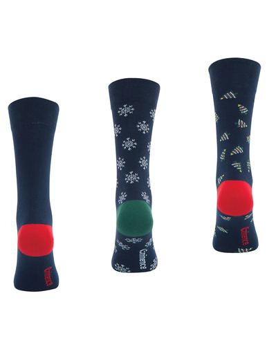 Lot de 3 paires de chaussettes - Eminence - Fantaisie marine de noël