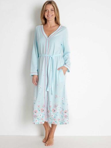 Peignoir kimono tout boutonné coton bio - Lingerelle - Imp vert menthe