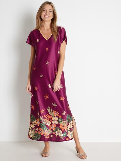 Robe d'hôtesse maille à enfiler - Lingerelle - Imprimé violet