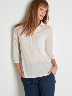 Tee-shirt col polo lin mélangé