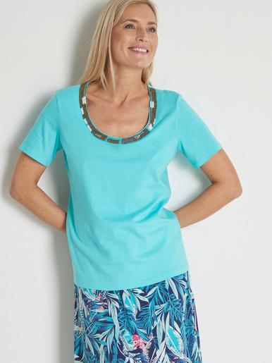 Tee-shirt raffiné encolure V bijou - Charmance - Turquoise