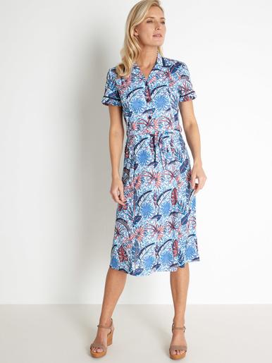 Robe chic légèrement évasée - Charmance - Imprimé bleu