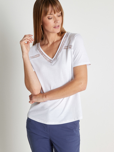 Tee-shirt pur coton effet flammé - Balsamik - Blanc