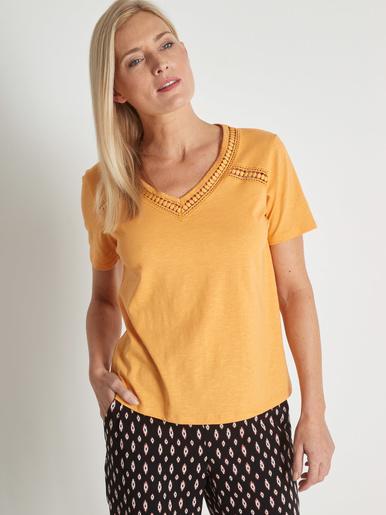 Tee-shirt pur coton effet flammé
