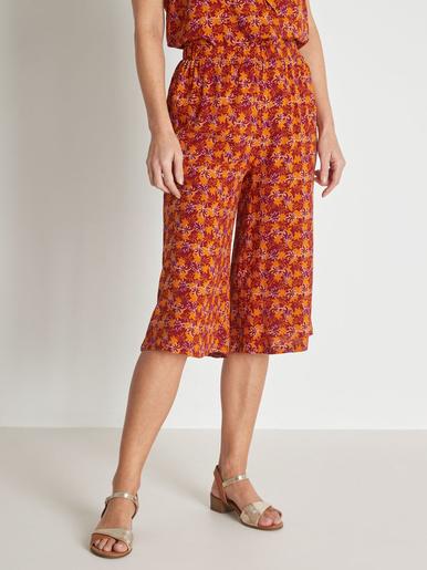 Jupe-culotte entièrement élastiquée - Balsamik - Imprimé terracotta