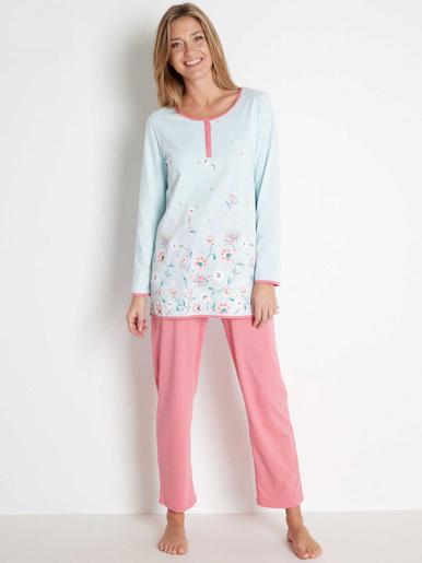 Pyjama fantaisie maille pur coton bio - Lingerelle - Imp vert menthe