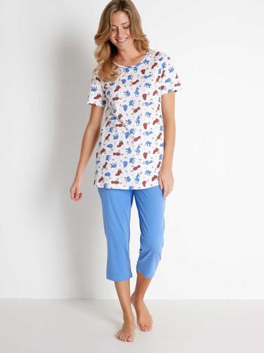 Lot de 1 pyjama + 1 pantacourt maille bi - Balsamik - Uni + imprimé bleu