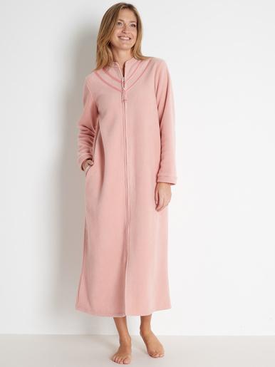 Robe de chambre zippé maille polaire - Balsamik - Bois de rose