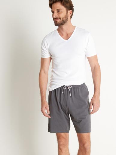 Lot de 2 shorts de pyjama en maille - Honcelac - Gris + carreaux bordeaux