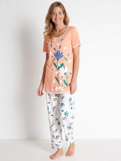 Pyjama manches courtes bio - Balsamik - Imprimé orange