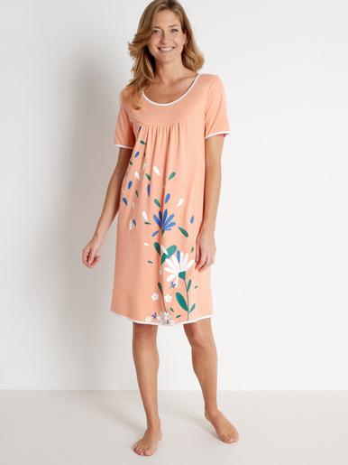 Chemise de nuit encolure danseuse - Balsamik - Imprimé orange