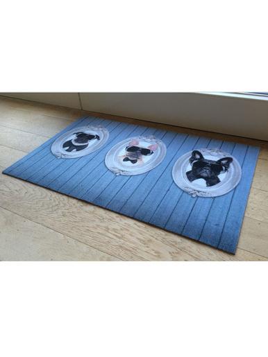 Tapis intérieur bleu motif chiens - Casâme -