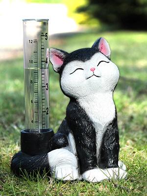 Pluviomètre chat noir et blanc
