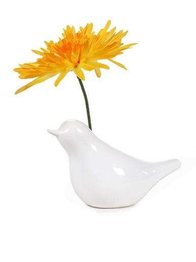 Vase oiseau porcelaine blanche -  - Blanc