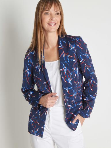 Veste satinée avec col smoking - Balsamik - Imprimé bleu