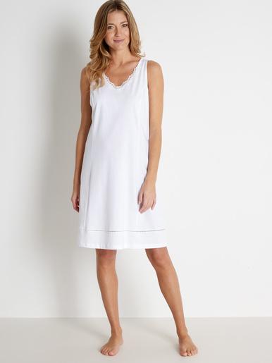 Fond de robe en pur coton long. 90cm - Lingerelle - Blanc