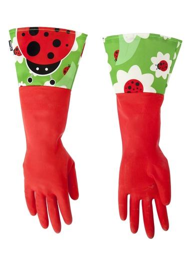 Gants vaisselle manchettes coccinelle -  - Rouge\ noir\ vert