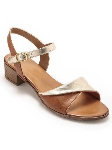Sandales élégantes à petit talon - Pédiconfort - Marron/doré