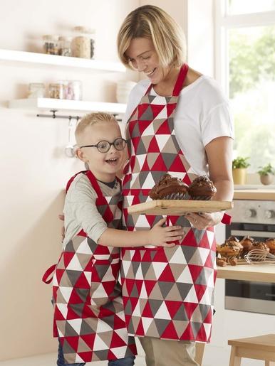 Tablier de cuisine adulte - Carré d'azur - Imp rouge