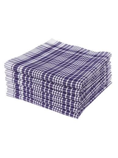 Lot de 6 mouchoirs pour homme - Carré d'azur - Blanc et bleu