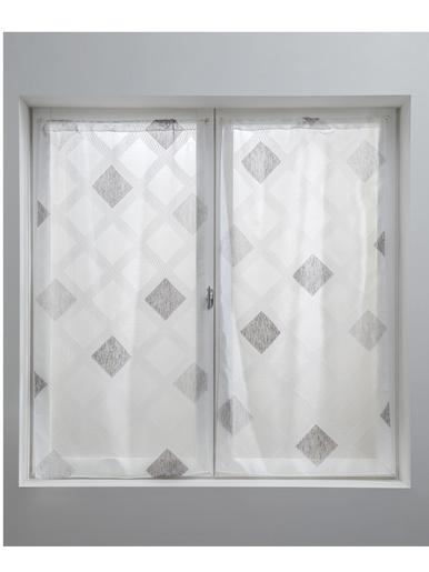 Paire de vitrages droits motif losanges - Carré d'azur - Fond blanc
