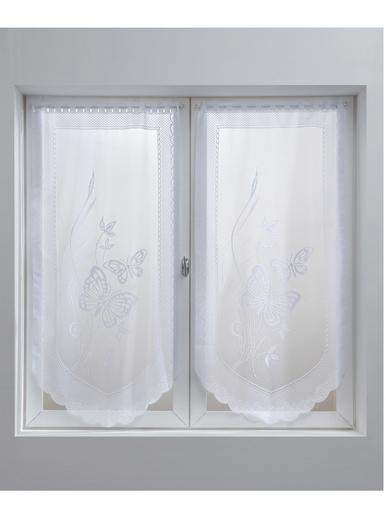 Paire de vitrages en pointe papillons - Carré d'azur - Blanc
