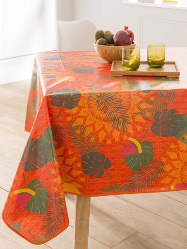 Toile cirée fantaisie - Carré d'azur - Fond orange imprimé ananas