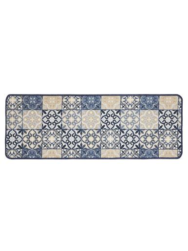 Tapis cuisine motif carreaux de ciment -  - Bleu