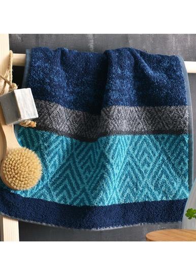 Drap de bain motif chevrons 450g/m2 - Becquet - Bleu
