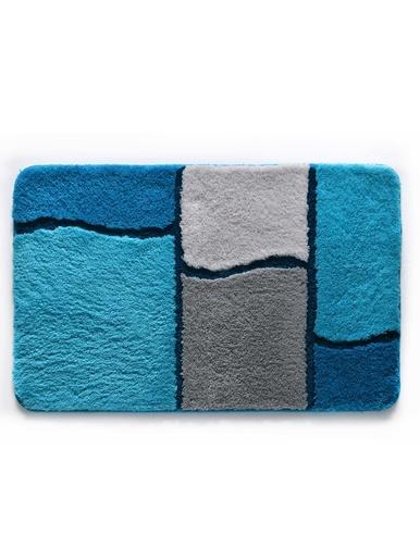 Tapis de bain motif géométrique - Becquet - Bleu