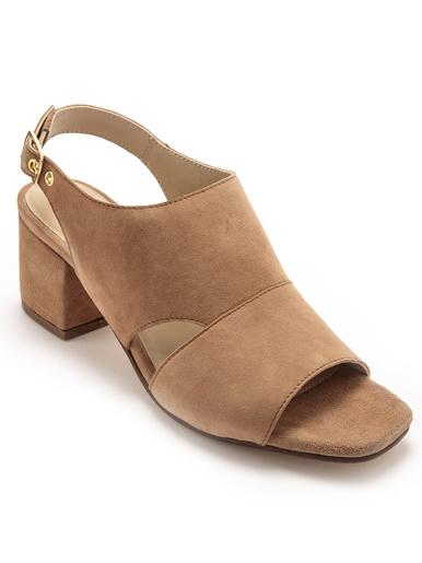 Sandales cuir velours à aérosemelle - Pédiconfort - Marron