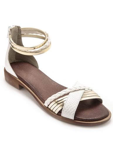 Sandales à aérosemelle talon zippé - Pédiconfort - Blanc/doré