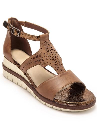 Sandales cuir motifs ajourés - Pédiconfort - Marron